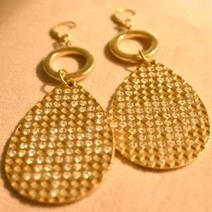 Gold Tone and Clear Stone Dangle Earrings
